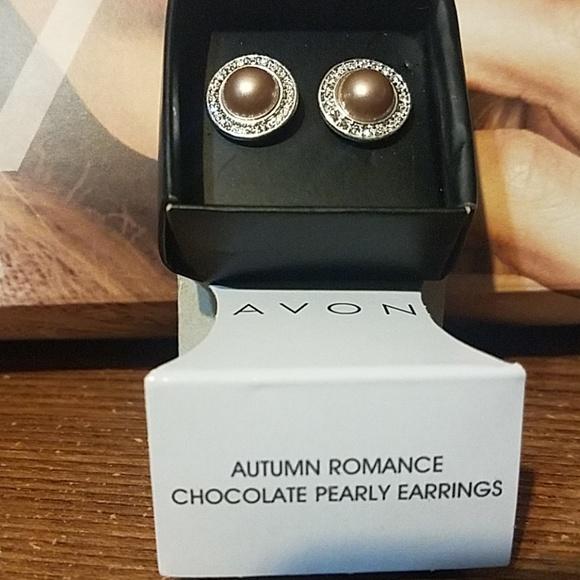 Avon Jewelry - Autumn Romance Chocolate Pearly Earrings